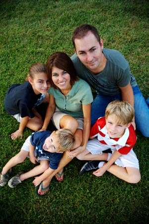 Image of a Family on the lawn